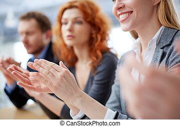 Hands applauding - Photo of business people hands applauding...