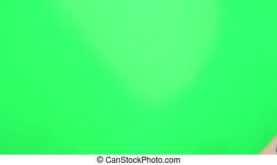 Hands are clapping on green screen background. Male hands clapping on a chroma key background. Applause on the chromakey.