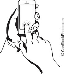 hands are holding and pointing on Smart Phone