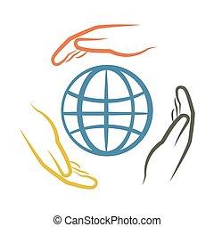hands around earth