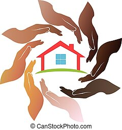 Hands around house logo
