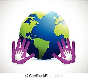 hands around the globe. illustration