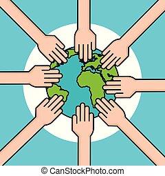 hands around world symbol peace