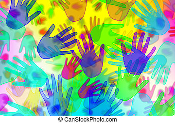 hands background - background with hands of different colors...