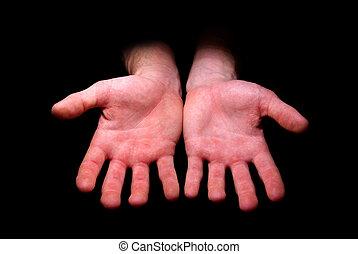 Hands begging alms on a black background