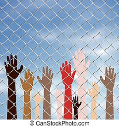 Hands Behind a Wire Fence