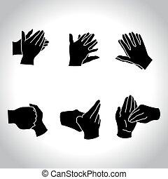 hands black - Hands positions for washing procedure, vector ...