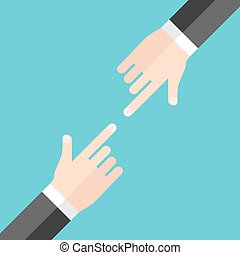 Hands blaming each other - Two hands of businessmen blaming...