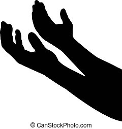 hands body part, silhouette vector
