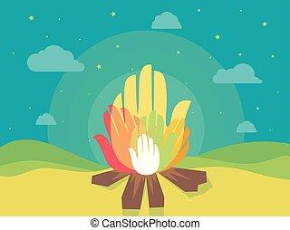 Hands Bonfire Illustration