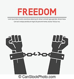 hands broken chains. freedom concept. vector illustration -...