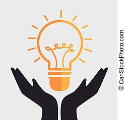hands bulb idea creative isolated design
