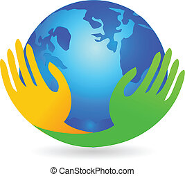 Hands business over world logo