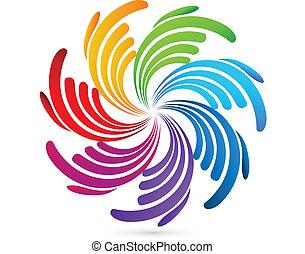 Hands business social network logo - Hands business social...