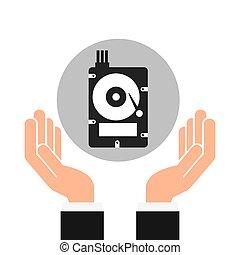 hands businessman data hard drive disk