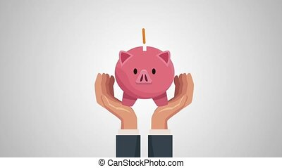 hands businessperson protection with piggy illustration...