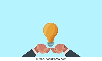 hands businessperson with bulb protection illustration...