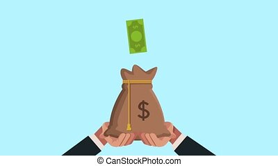 hands businessperson with money protection illustration...