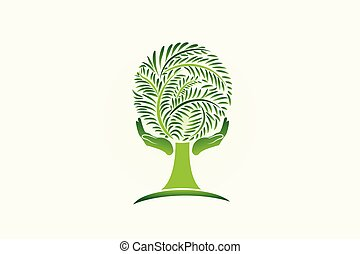 Hands care a tree ecology logo
