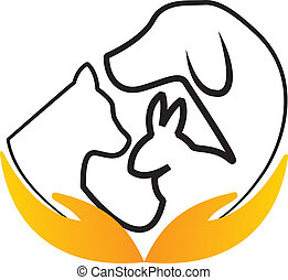 Hands care pets logo vector - Cat, dog and rabbit in a heart...