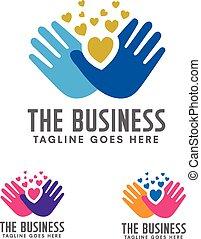 Hands care silhouette logo concept.