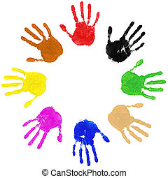 Hands Circle - Multi coloured painted handprints arranged in...
