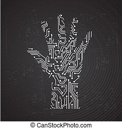hands circuit over black background vector illustration
