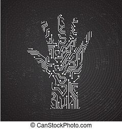 hands circuit over black background vector illustration