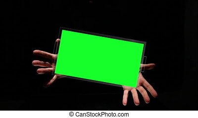Hands clapping and presenting copy space screens on black background