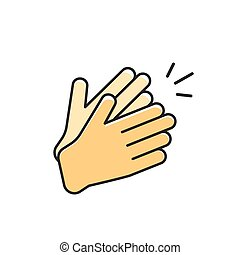 Hands clapping vector icon, applause flat cartoon outline...