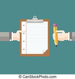Hands Clipboard Pencil Flat Design