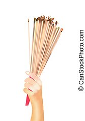 Hands Clutching Lit Incense Sticks for Praying Homage - Hand...
