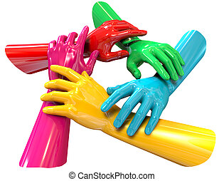 Hands Colorful Circle Holding Each Other Top