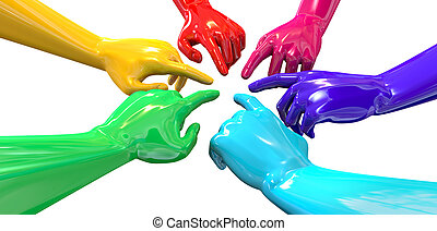 Hands Colorful Circle Pointing Inward Perspective