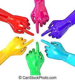 Hands Colorful Circle Pointing Inward Top