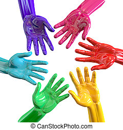 Hands Colorful Circle Reaching Inwards - A bottom view of a...