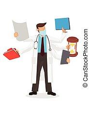 hands., concept, medisch, arts., multitasking, veelvoudig, ...