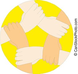 hands connecting, cooperation concept, vector illustration