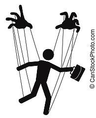hands control a businessman puppet