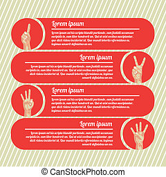 hands counting infographics over red background vector...