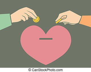 Hands Couple Heart Coin Bank Illustration
