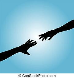 Hands Couple Silhouette Reach - A couple hands reach across...