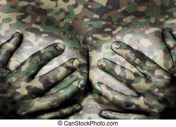 Hands covering breasts - Sweaty upper part of female body,...