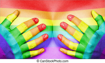 Upper part of female body, hands covering breasts, rainbow flag