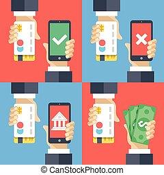 Hands, credit cards, smartphones