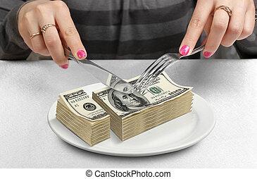 Hands Cut money on plate, reduce funds concept - Hands cut...