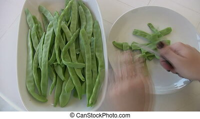 Hands Cutting Grean Beans