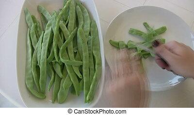 Hands Cutting Grean Beans