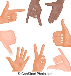Hands deaf-mute different gestures human arm people ...