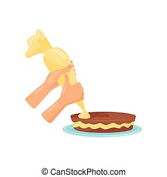 Hands decorating cake with cream, cooking process vector Illustration on a white background